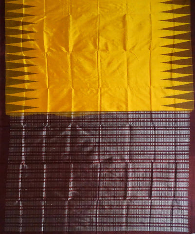 Yellow Bomkai silk Handwoven Saree