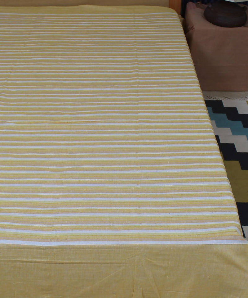 Yellow Cotton Stripe Double Bed Cover