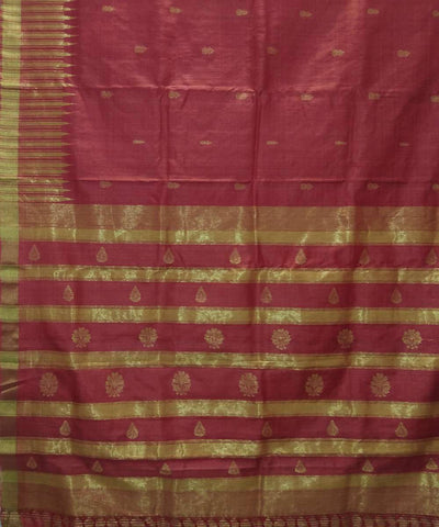 Handwoven Scarlet Red Tussar Silk Saree