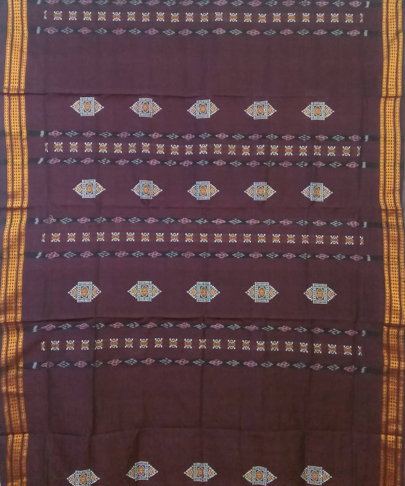 Burgundy Black Handloom Bomkai Cotton Saree