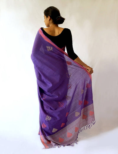 Bavanbuti Handloom Lavender Cotton Saree