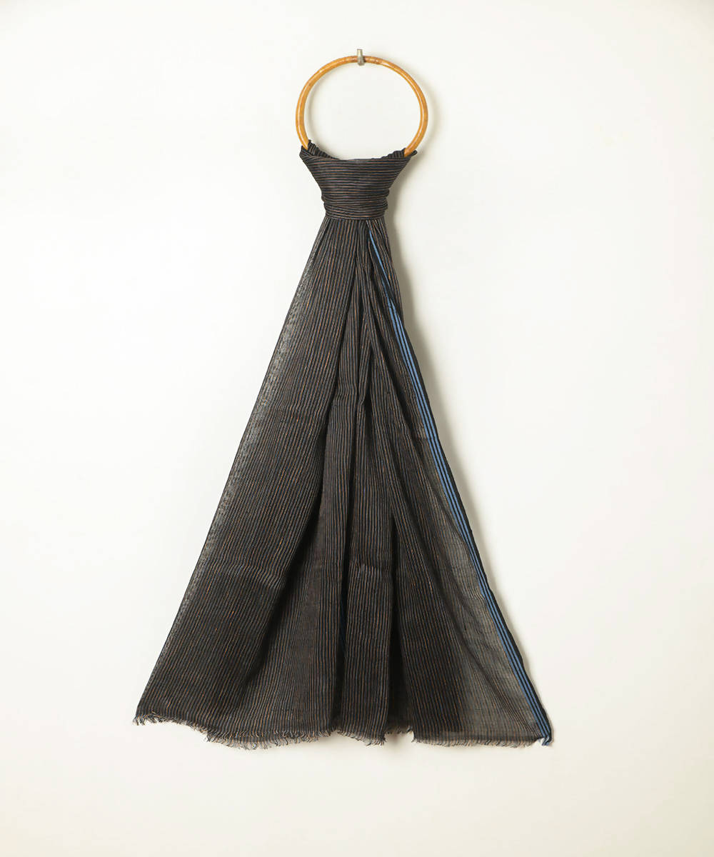 Handwoven black blue cotton linen stole