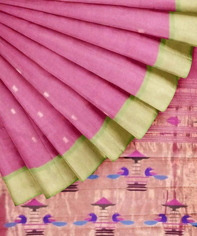 Light Pink Handloom Paithani Cotton Saree