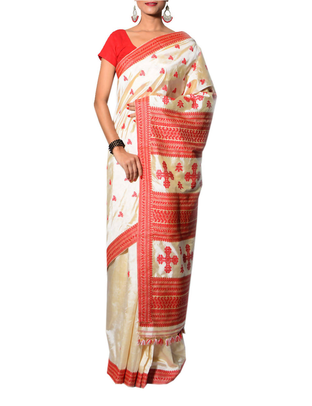 Off White and Red Handloom Assam Silk Saree