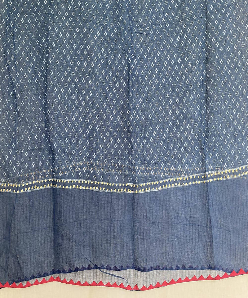 Blue handblock print with applique kota doria cotton dupatta