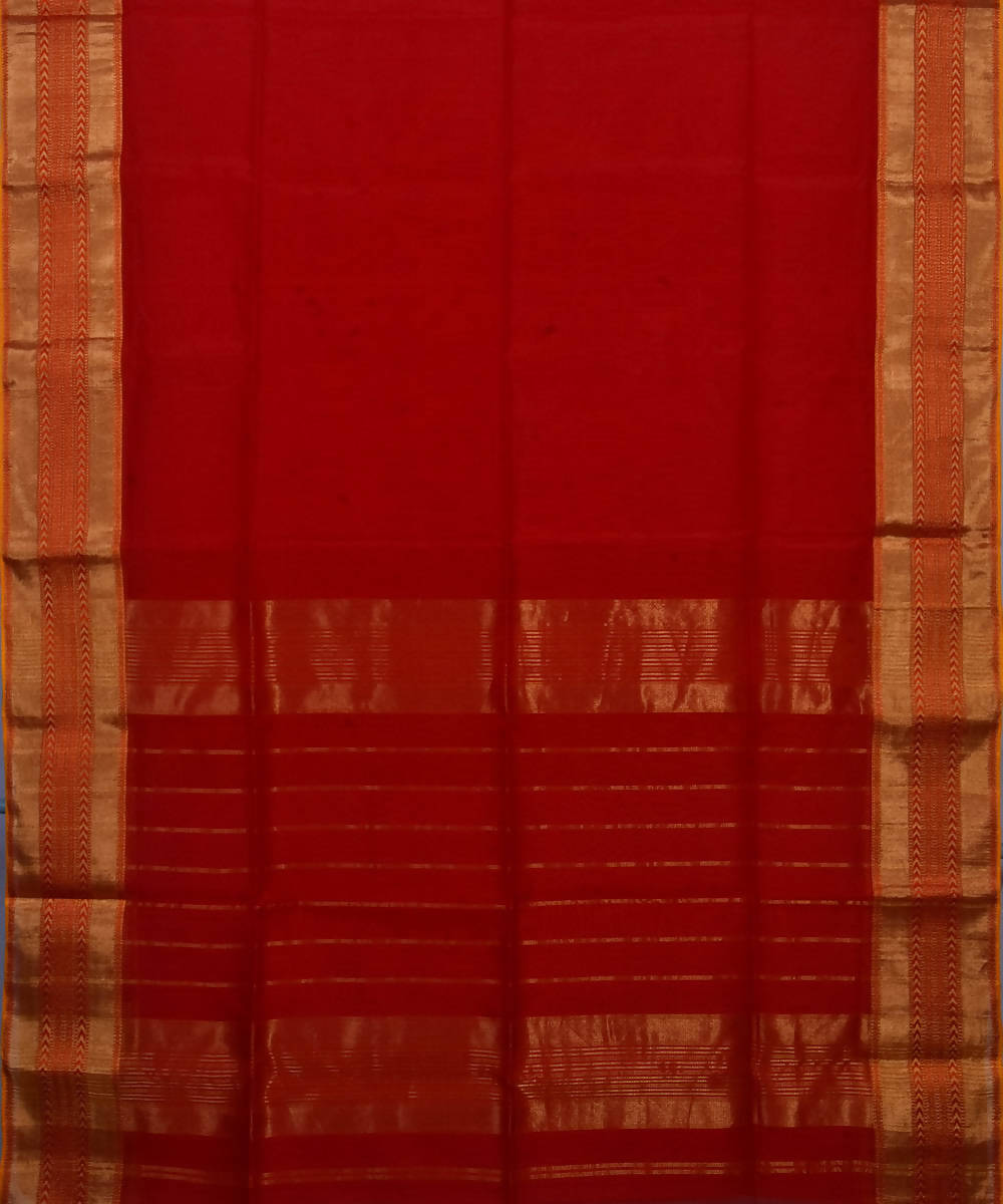 Handloom Cherry Red Maheshwari Sico Saree
