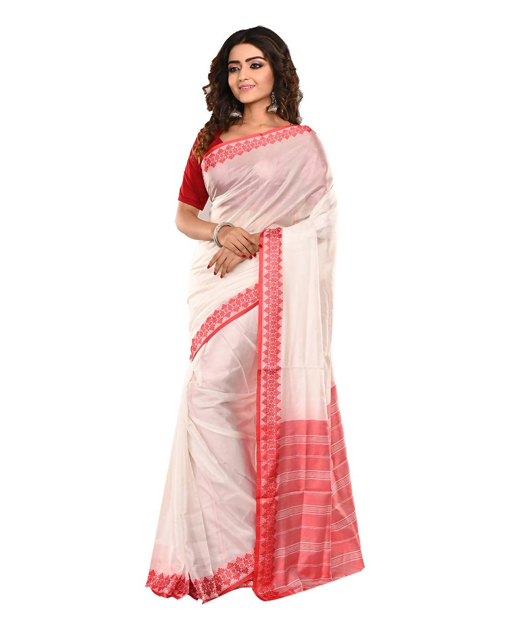 Bengal Handloom Mulberry silk White Red Saree