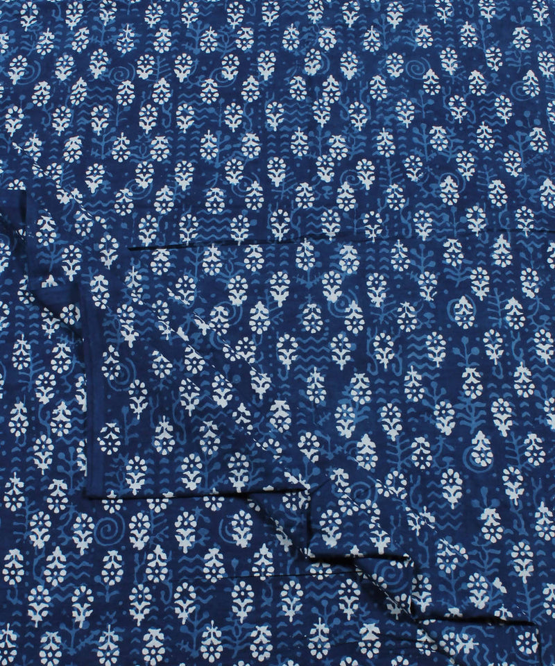Indigo White Floral Dabu Print Cotton Fabric