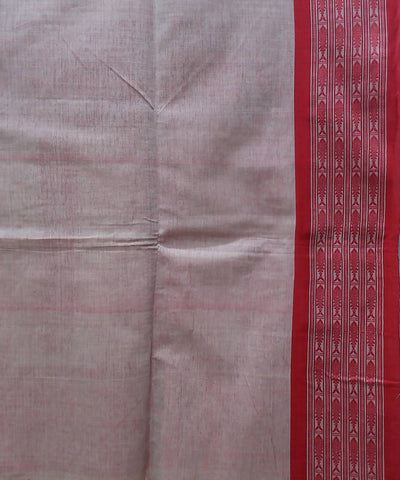 Bengal handspun handwoven cotton beige and red saree