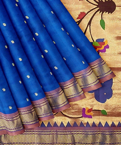 Paithani Navy Blue Handloom Silk Saree