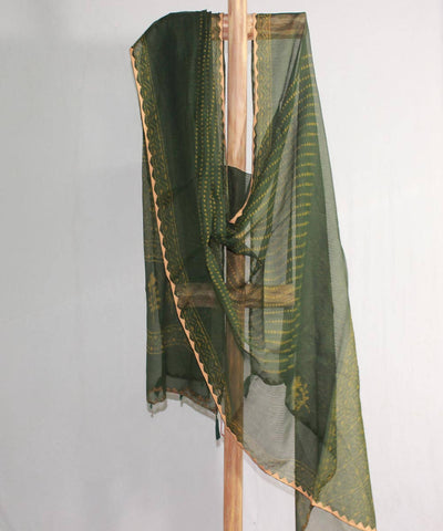 Green handblock print with applique work kota doria cotton dupatta