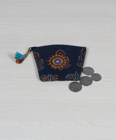 Navy Blue Lambani Embroidery Coin Pouch