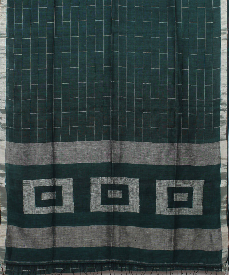 Bengal Handloom Bottle Green Linen Saree