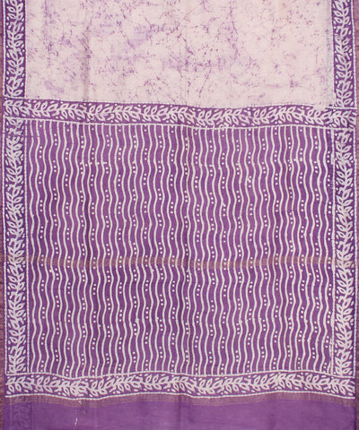 Purple Batik Hand Printed Chanderi Sico Saree