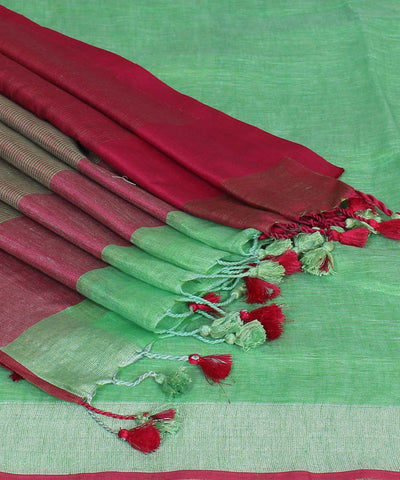 Green and Maroon Handloom Linen Saree