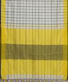 White Yellow Checks Linen Handloom Saree