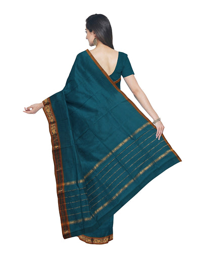 Venkatagiri Cotton Blue Handloom Saree