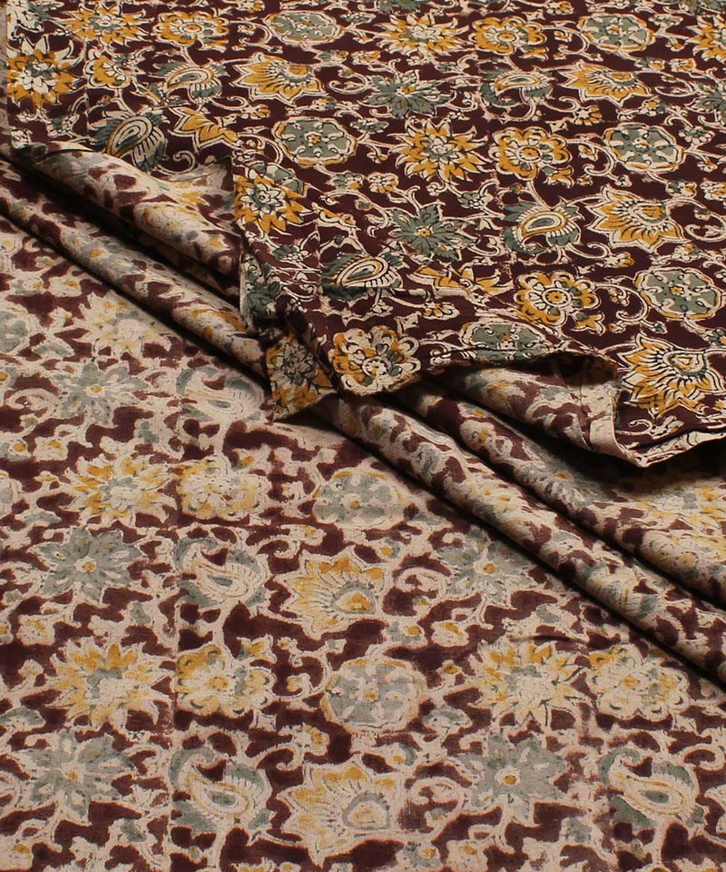 Dark Brown Kalamkari Handblock Print Fabric