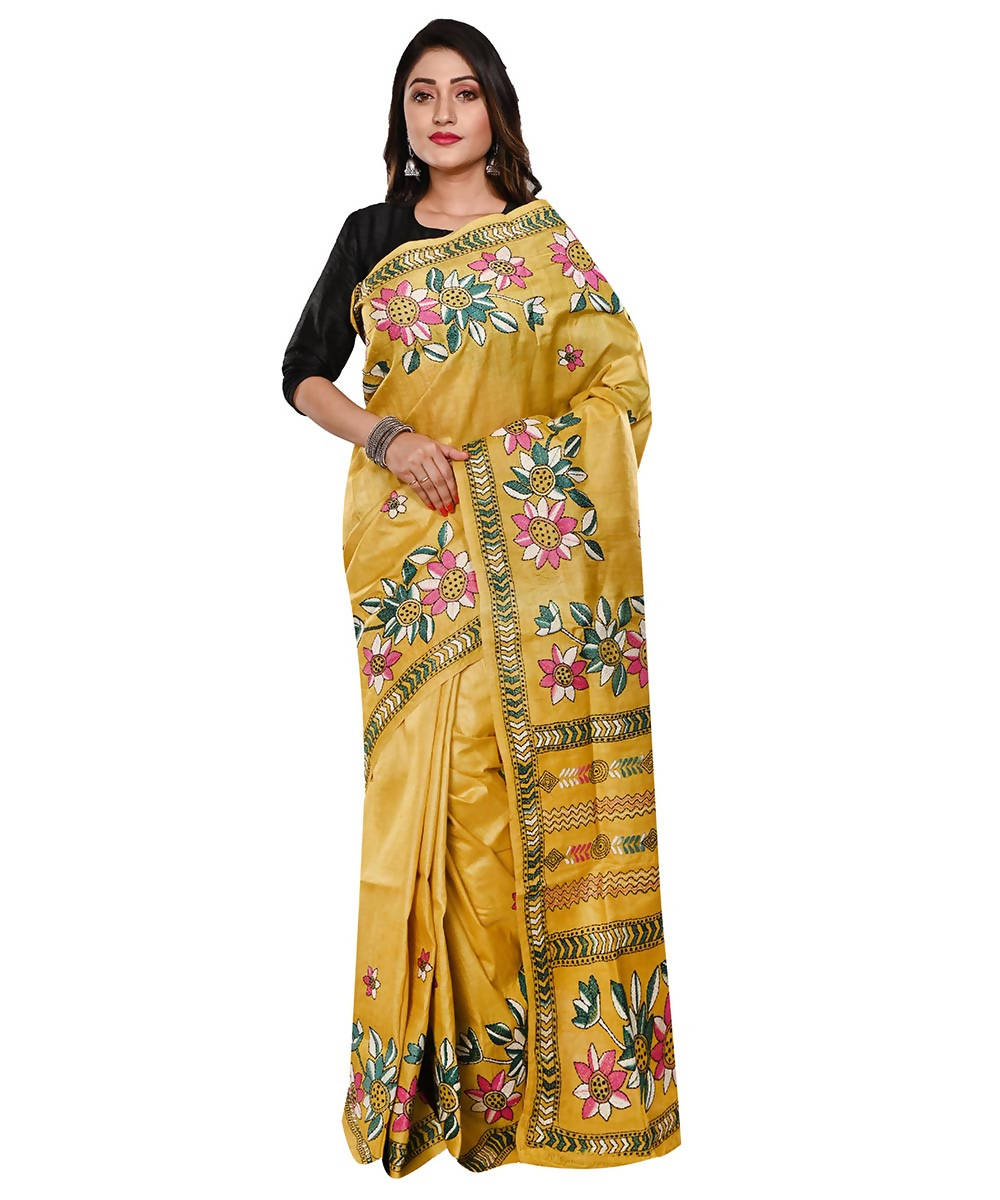 Yellow Handloom Kantha Stitch Tussar Saree