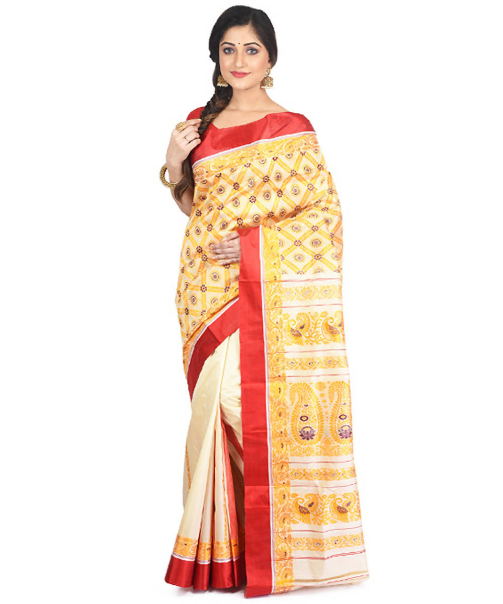 Offwhite yellow handloom garad silk saree