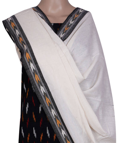 Black handloom pochampally cotton dress material