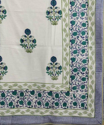 Green and White Floral Handblock Printed Cotton Double Dohar