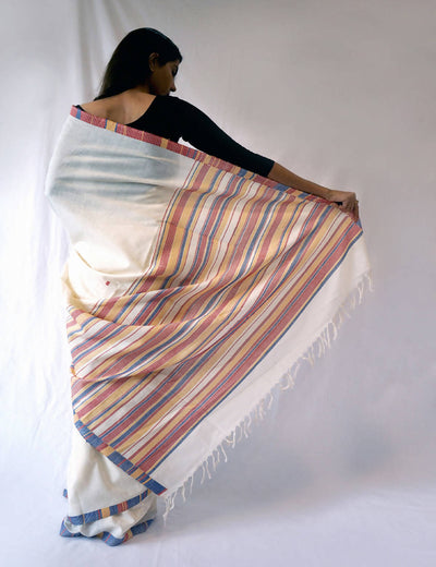 Bavanbuti Handloom Cotton White Saree