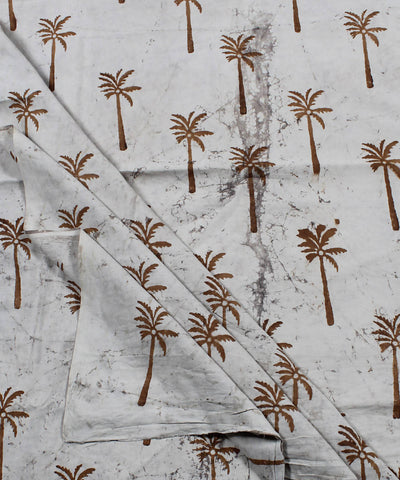 Off White Tree Motif Dabu Print Cotton Fabric