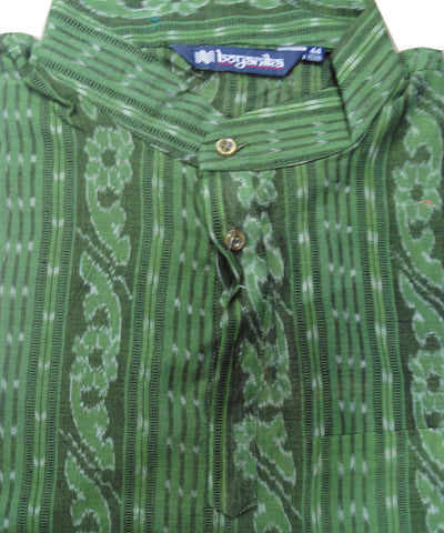 Green  Sambalpuri Gents Short Kurta