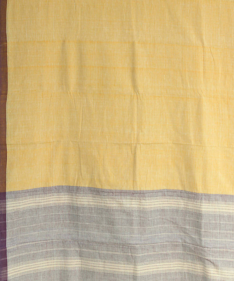 yellow khadi handwoven cotton saree