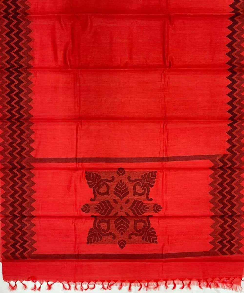 Red handwoven zig zag tussar silk saree