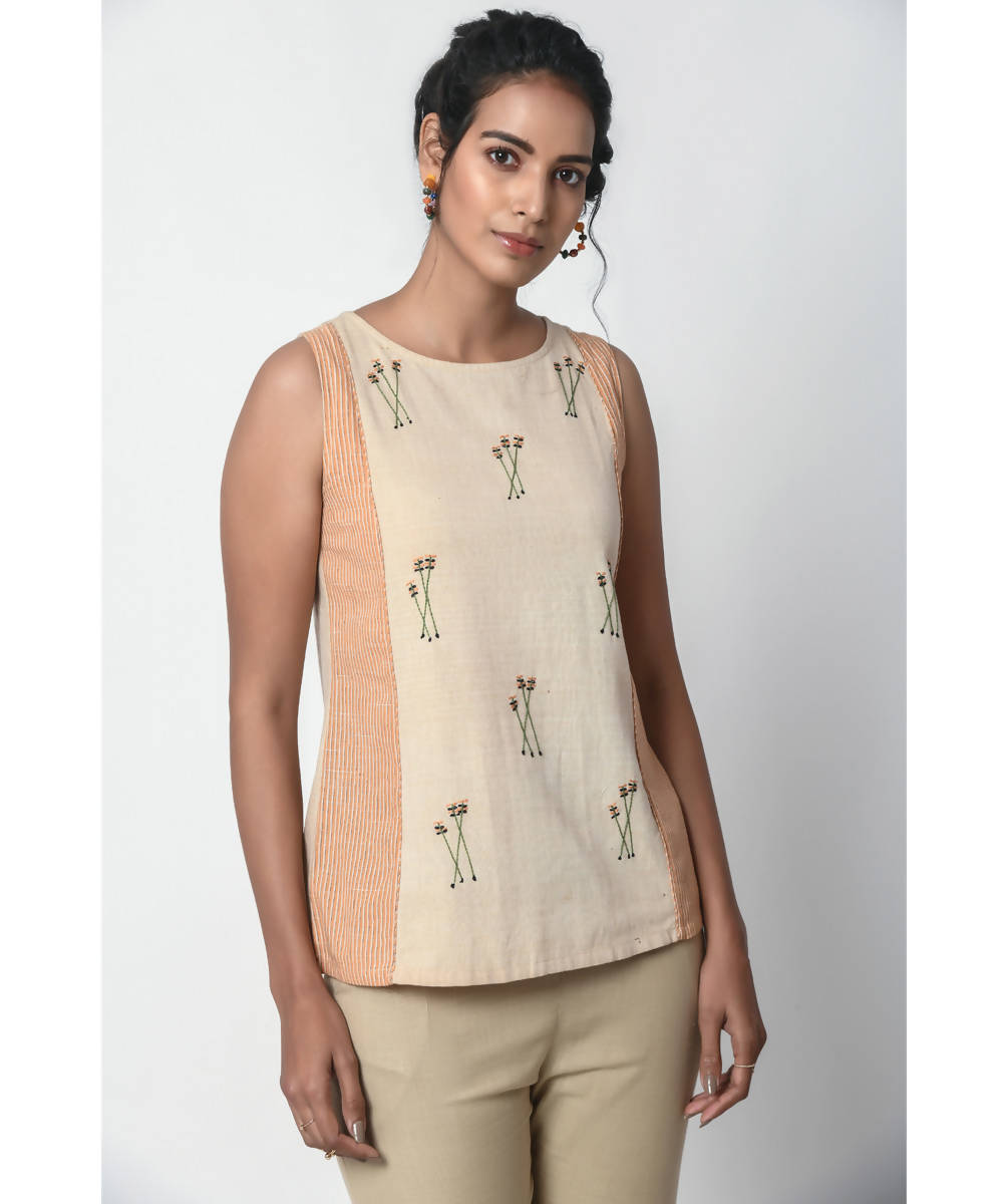 Hand Embroidered Beige and Orange Stripe Panel sleeveless Cotton top