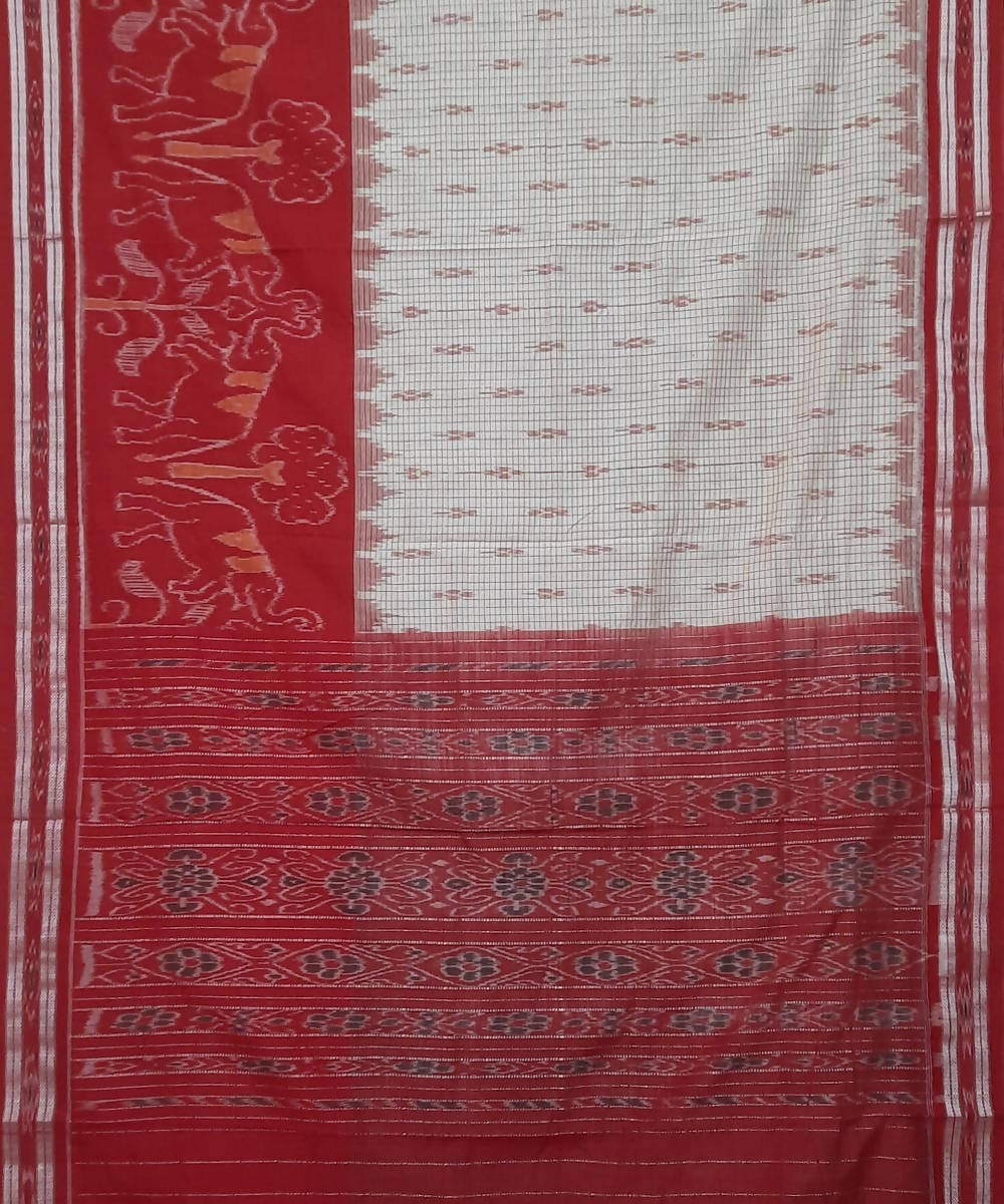 Offwhite and Red Nuapatana Handloom Cotton Saree