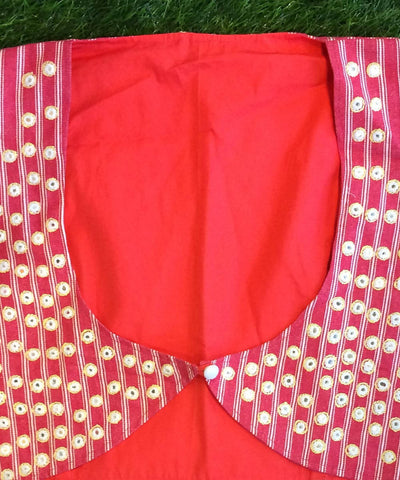 Tomato red Hand embroidery mirror work jacket