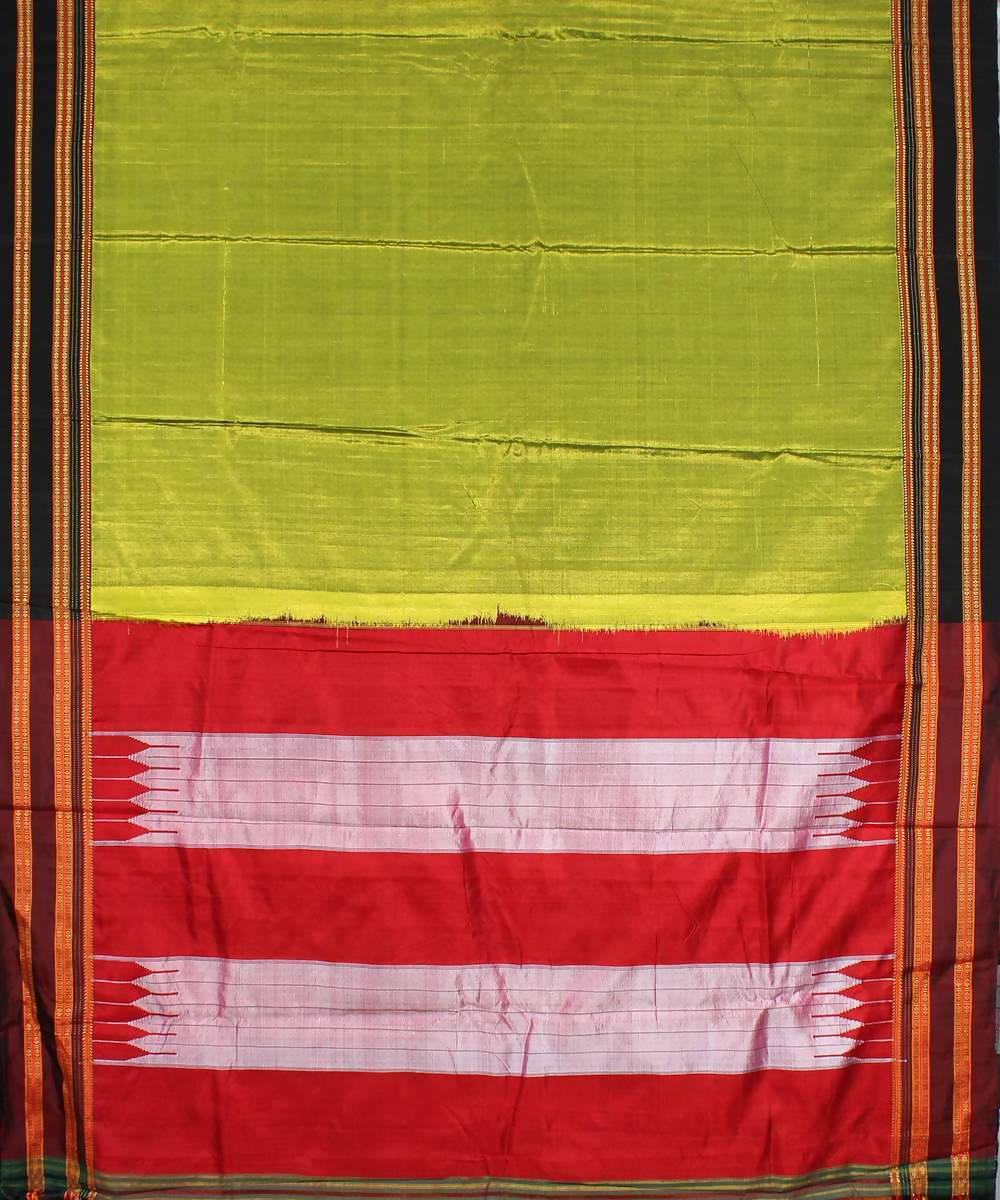 Lime green handloom black chikki paras border ilkal saree