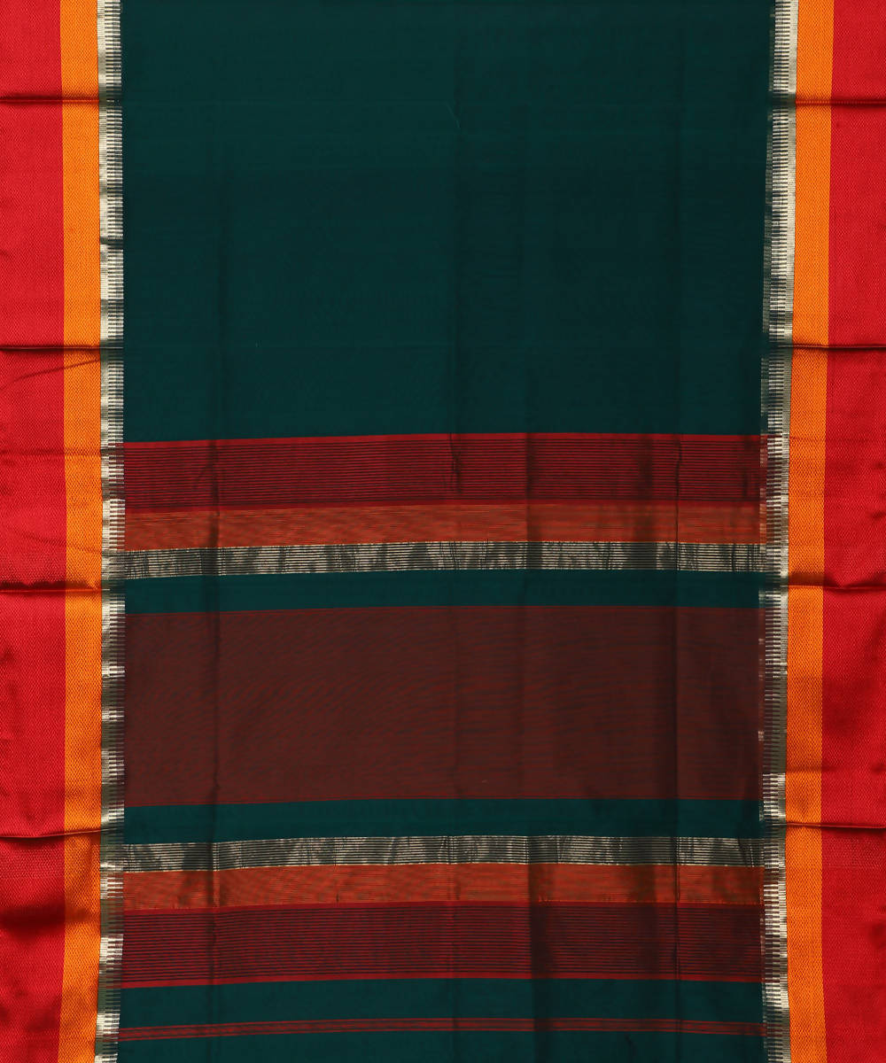 Maheshwari Handloom Sico Dark Green Saree