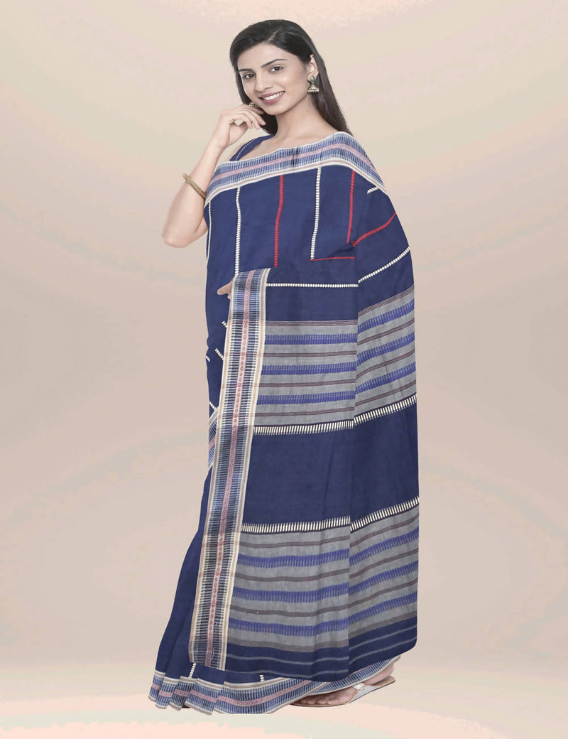 Navy blue dhonekhali handwoven cotton saree