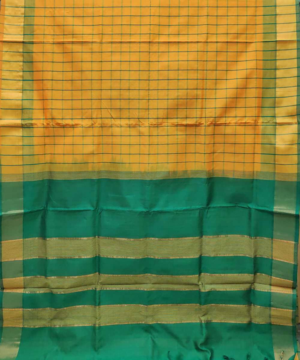 yellow orange Handwoven Venkatagiri Cotton silk saree