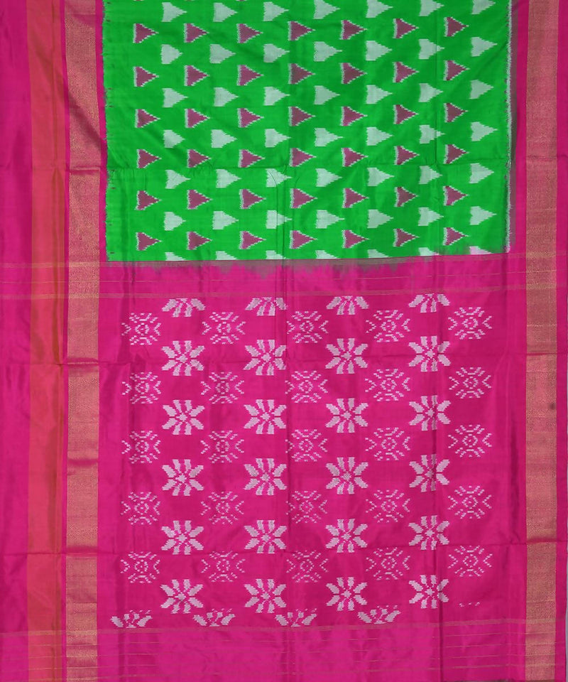 Handloom Green Pochampally Ikkat Silk Saree
