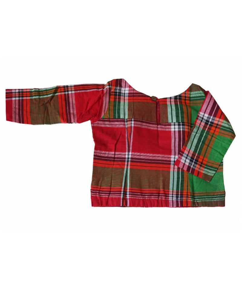 Red Green Handwoven Gamcha Checks Cotton Crop Top Blouse