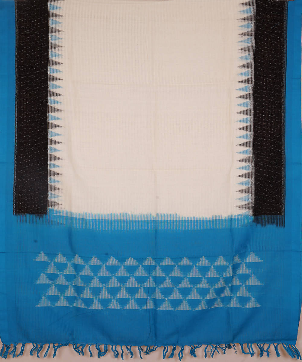 White and sky blue Handwoven Pochampally ikat cotton Dupatta