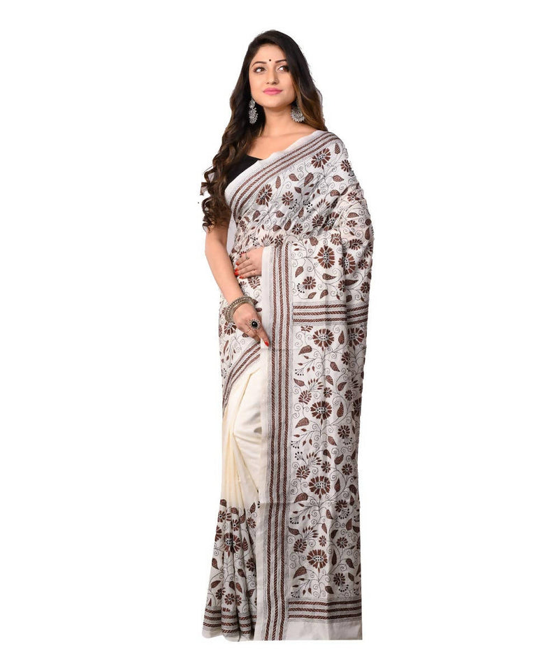 White Bengal Handcrafted Kantha Stitch Saree