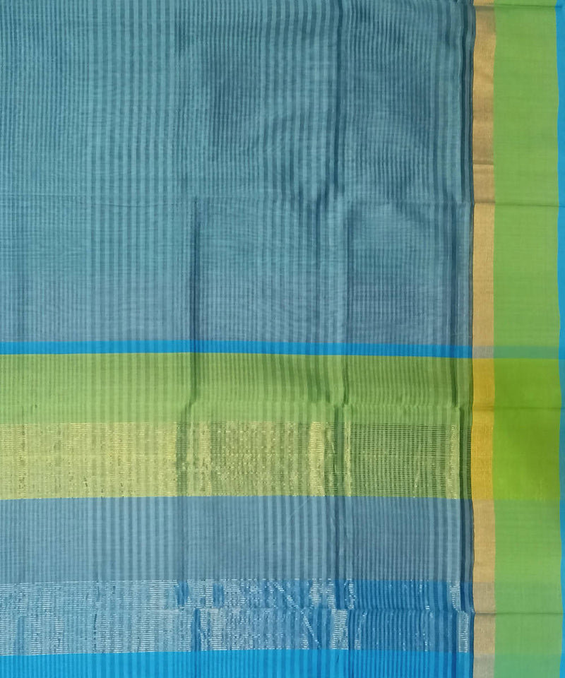 Teal Blue Maheshwari Handwoven Cotton Silk Saree