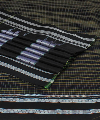Black Checks Ilkal Cotton Handloom Saree