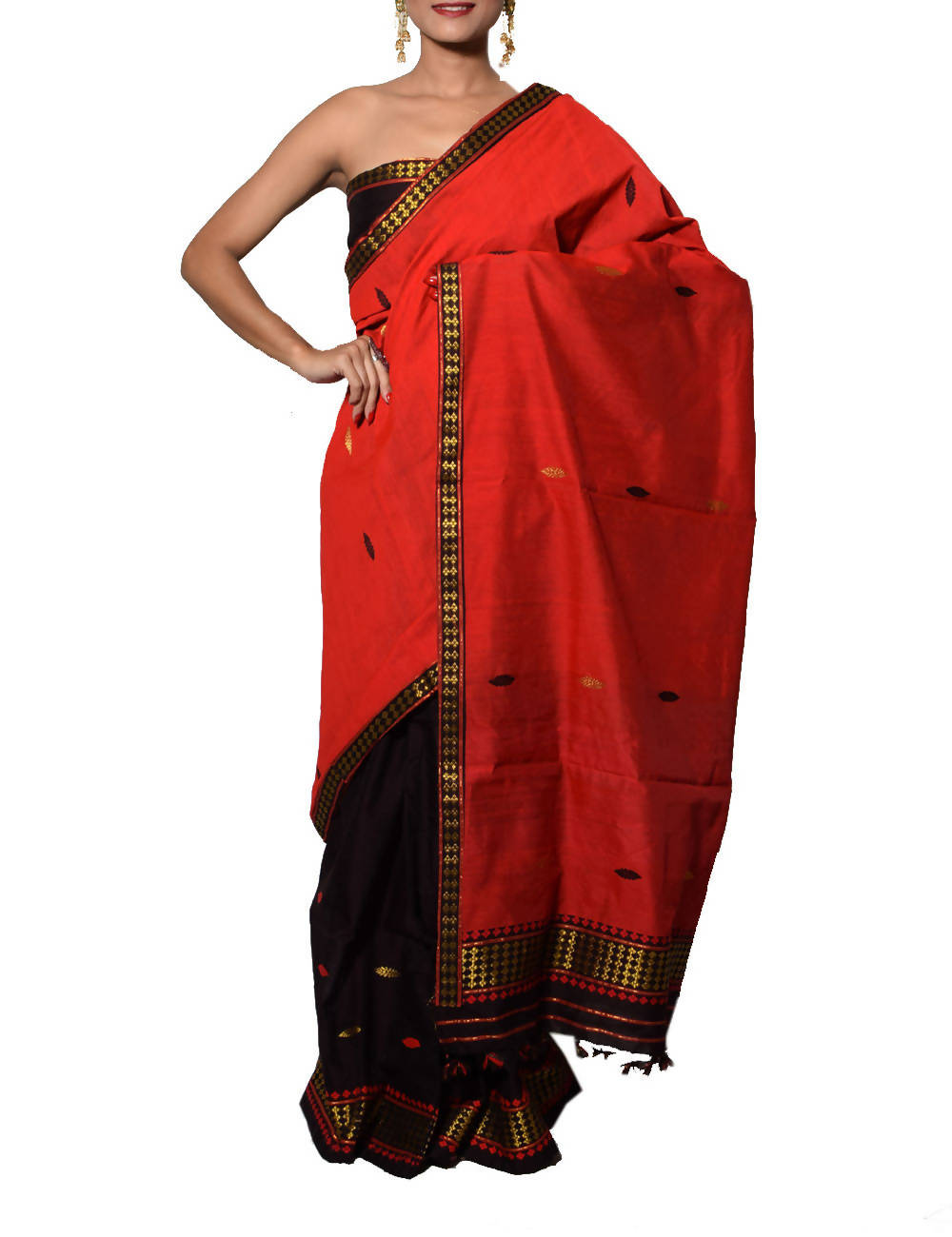 Red and Black Assam Cotton Mekhela Chador