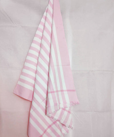 white and Pink Stripes Handwoven cotton towel
