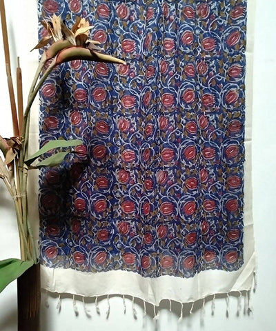 Blue and red Floral Handblock Printed Cotton Silk Stole