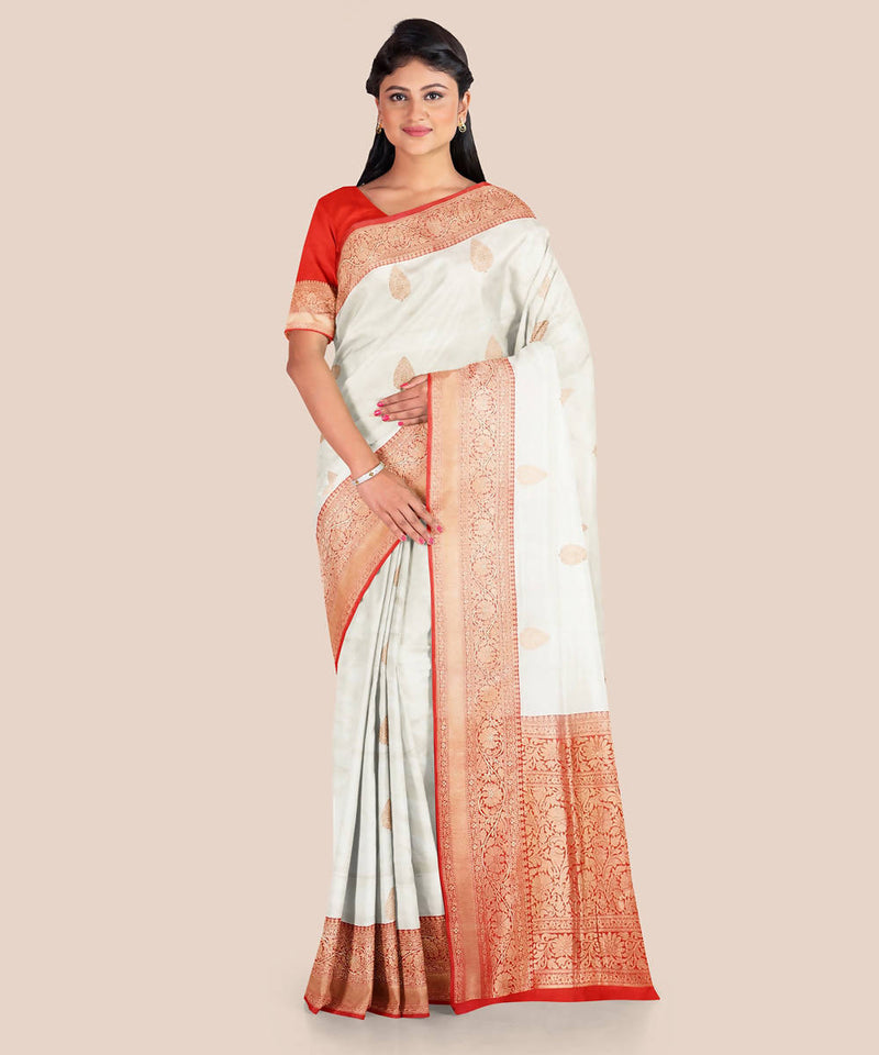 White and red handloom silk katan banarasi saree