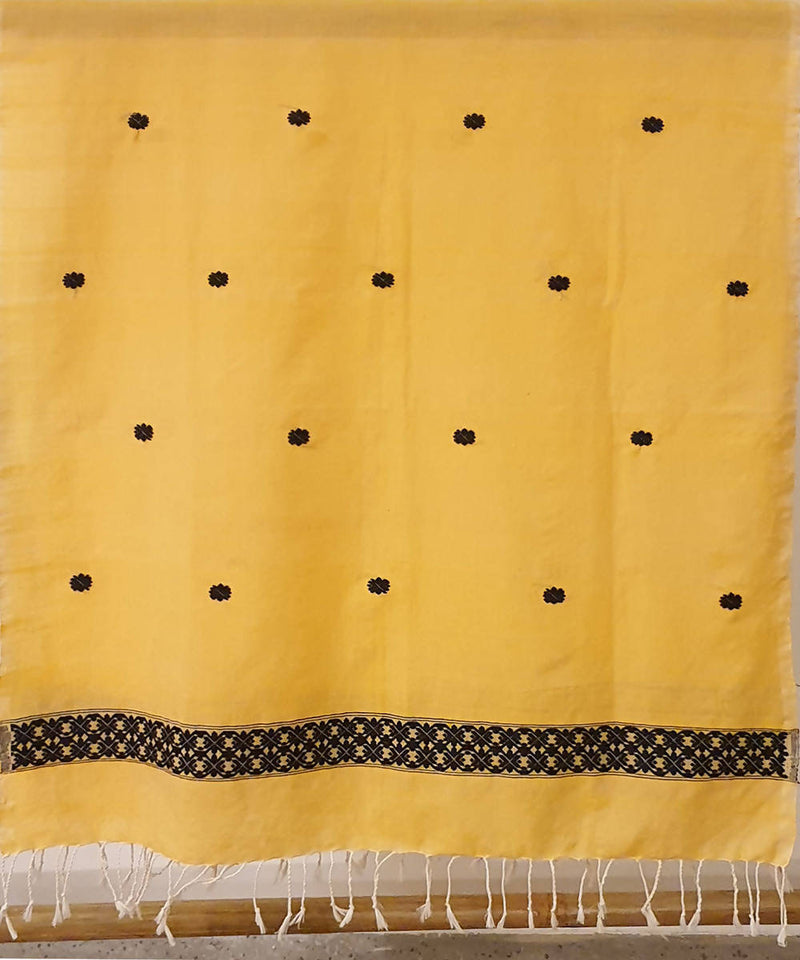 yellow and black assam handloom cotton stole