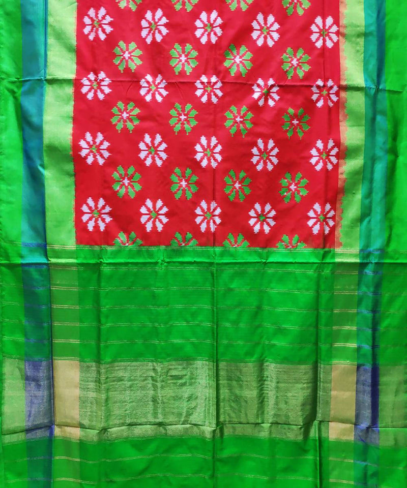 Red and parrot green handloom ikat silk pochampally saree